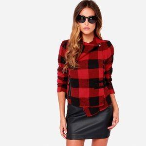 BB Dakota Rosanna Black & Plaid Jacket